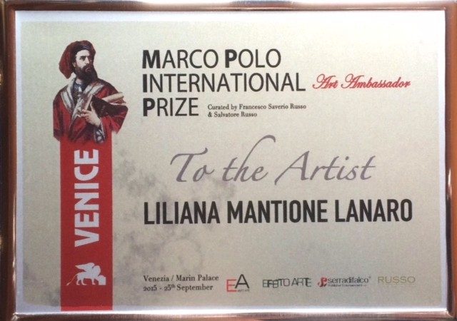 ".25 Settembre 2015 – ""Marco Polo International Prize"" Venezia – Marin Palace"